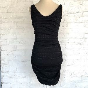 Express cocktail dress black lace ruched fitted S
